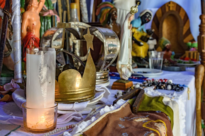Brazilian religious altar mixing elements of umbanda, candomblé and catholicism in the syncretism present in the local culture and religion African Altar Brazil Catholic Cristian Decor Faith Pray Tradition Art Brazilian Candomblé Culture Folklore Holy No People Orixas Ornaments Popular Religion Religious  Saints Syncretism Temple Umbanda