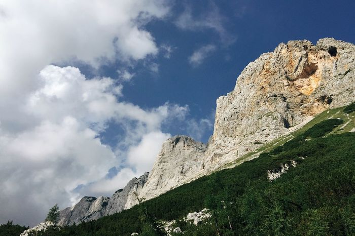 Scenery around Triglav Lakes Valley, Slovenia, 2017. Alpine Hiking Cloud IfeelsLOVEnia Slovenia Triglav Lakes Valley Triglav Lakes Mountain Low Angle View Rock - Object Sky Day Nature Cloud - Sky Outdoors Scenics Physical Geography Beauty In Nature Travel Destinations Peak