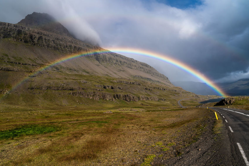 Iceland Beautifuliceland Beauty In Nature Cloud - Sky Day Double Rainbow Environment Idyllic Landscape Mountain Multi Colored Nature No People Non-urban Scene Outdoors Rainbow Road Scenics - Nature Sky Tranquil Scene Tranquility Transportation My Best Travel Photo Holiday Moments Capture Tomorrow