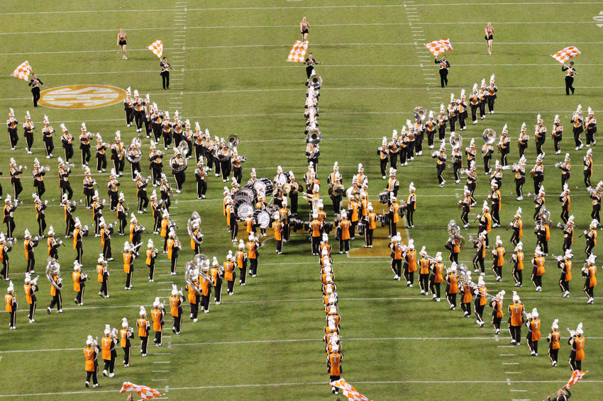 The University of Tennessee Pride of the Southland Marching Band doing halftime during Alabama game in 2012 Big Orange Field Flag Football Green Color Halftime Knoxville Large Group Of People Music Neyland Stadium Pride Of The Southland Marching Band University Of Tennessee The Color Of Sport