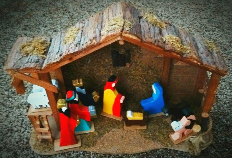 Real People Built Structure Baby Jesus Virgin Mary Joseph Wisemen Nativity Scene Frankincense Myrrh Gold Gift Present Christmas Handmade Wood Art Holiday Family Stable Away In A Manger First Eyeem Photo
