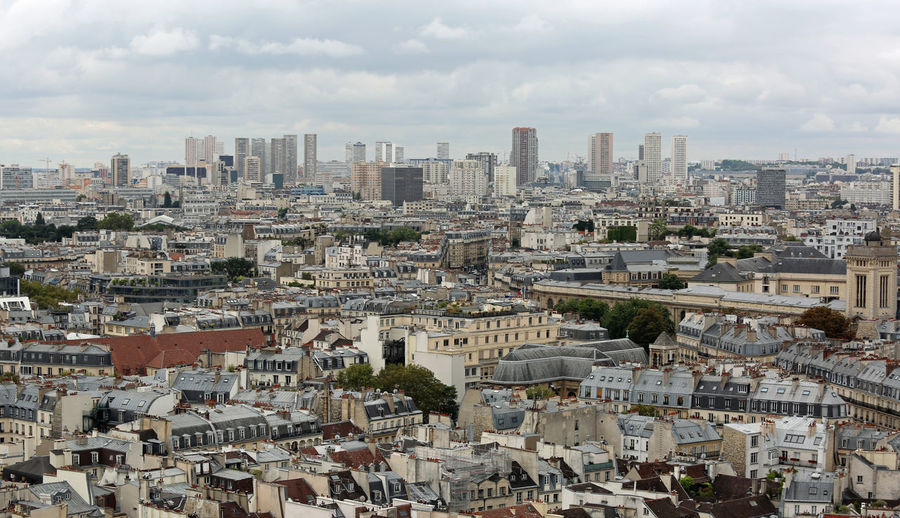 Panorama of paris from the eiffel tower with the high skyscrapers of the district called la defense