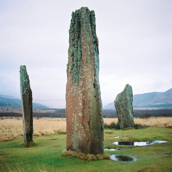 The Standing Stones of Machrie Moor on the Scottish island of Arran. Arran  Cloud Film Holiday Scotland Scottish Standing Stones Of Machrie Moor Adventure Beauty In Nature Cultural Day Grass Green Color Landscape Medium Format Nature No People Outdoors Overcast Scenics Sky Standing Stones Tranquil Scene Tranquility Travel Destinations