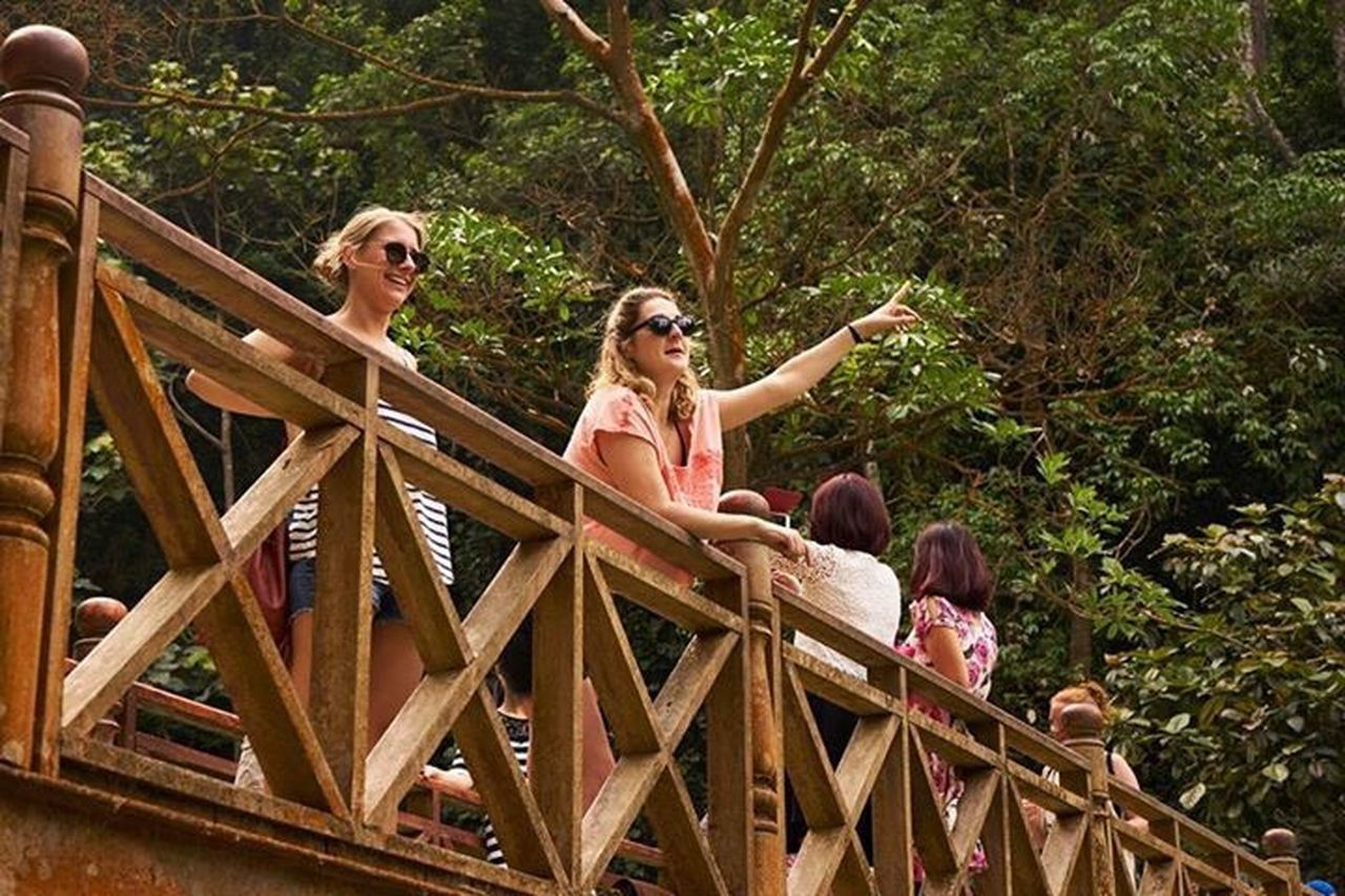 adult, outdoors, wood - material, people, day, only women, adults only, leisure activity, tree, young adult, two people, standing, togetherness, women, full length, human body part, real people, young women, blond hair