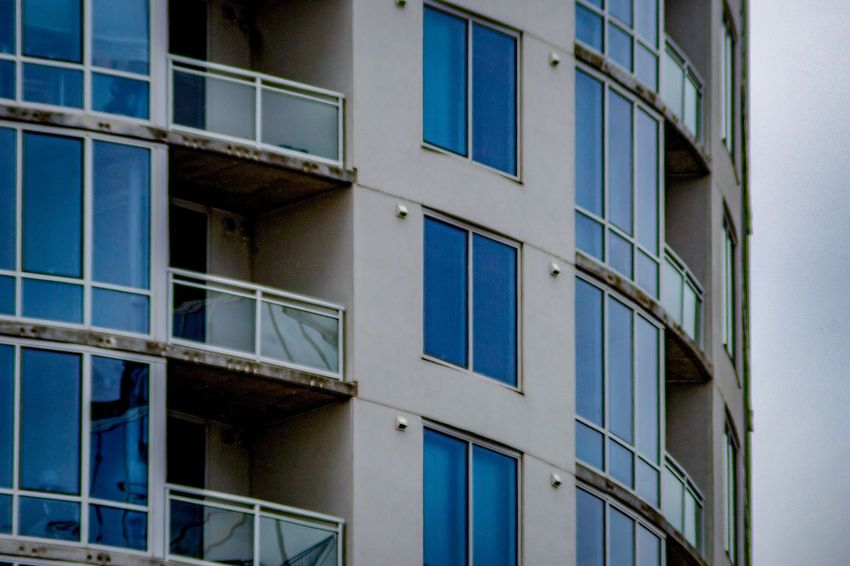 Reflection In The Window Balconies City Photography Architectural Design Modern Architecture Detail Full Frame Composition EyeEm Selects Built Structure Architecture Building Exterior Building Window No People Glass - Material Full Frame Residential District Repetition Low Angle View Blue