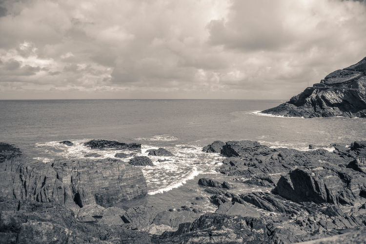 Beauty In Nature Black & White Black And White Cliff Cloud Cloud - Sky Cloudy Coastline Horizon Over Water Idyllic Landscape Nature Rock Rock Formation Rocks Rocks And Water Scenics Sea Seascape Shore Sky Tranquil Scene Tranquility Water Monochrome Photography