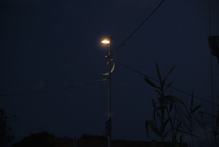 Illuminated Sky Night Lighting Equipment Electricity  No People Street Light Street Nature Low Angle View Cable Technology Fuel And Power Generation Dusk Moon Plant Connection Outdoors Light Copy Space Full Moon Power Supply Moonlight
