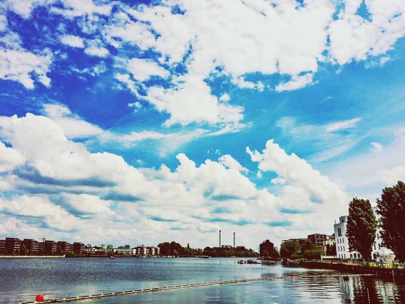 Spree River Berlin Spree Riverside Blue Sky And Clouds Blue Sky Blue Sky And White Clouds Blue Sky White Clouds Skyporn Competition Skyporn Sky And Clouds Sky_collection Cloudporn