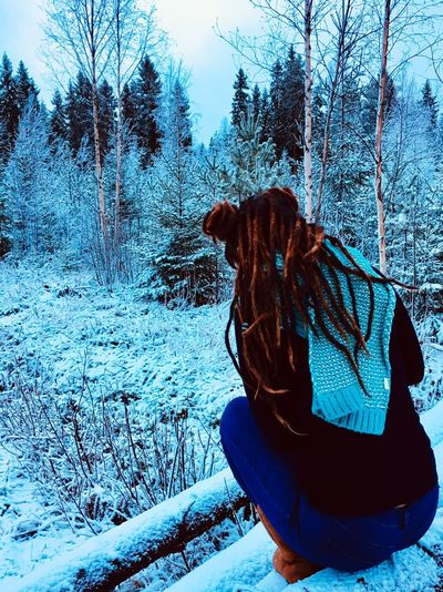 Abundance of Love💙Abundance of freedom☮️Abundance of Bliss💕Abundance of Light💫 Solotraveler Lapland Finland Dreads One Person Winter Cold Temperature Day Real People Lifestyles Nature Snow