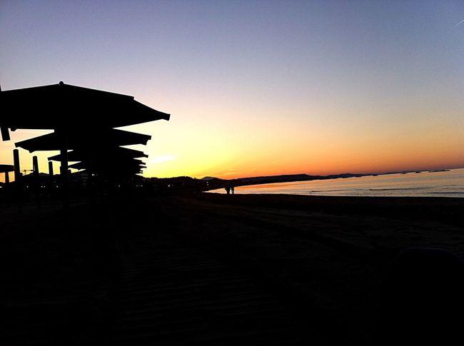 Sunset Beach Umbrella Sea Tramonto Ombrelloni Spiaggia Mare Calmo
