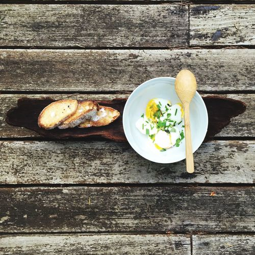 Eggs And Ciabatta On Wooden Table