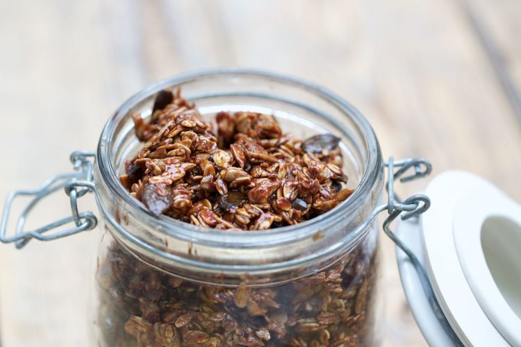 Close-Up Of Granola In Jar