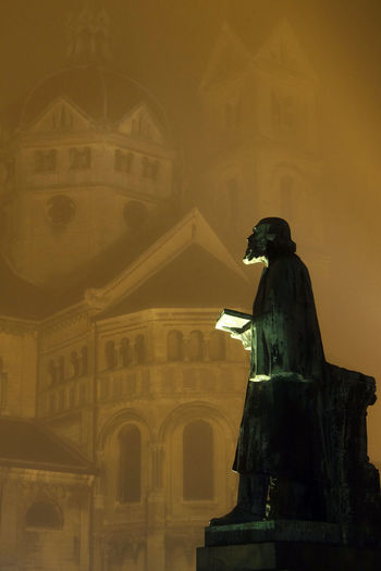 Church Statue Fog Mist Yellow Brown Roermond Netherlands Night Sony Arne Dielis The Architect - 2016 EyeEm Awards