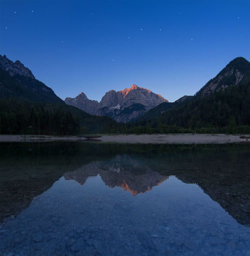 Scenic View Of Mountains By Calm Lake At Dusk