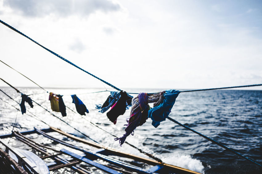 Asia #13 Boat Boattrip Cloth Coron Day Drying Dryingclothes Hanging Islandhopping Living Low Angle View Nature Outdoors Rope Sea Sky Taophilippines