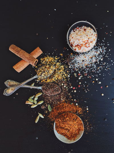 Directly above shot of spices on table