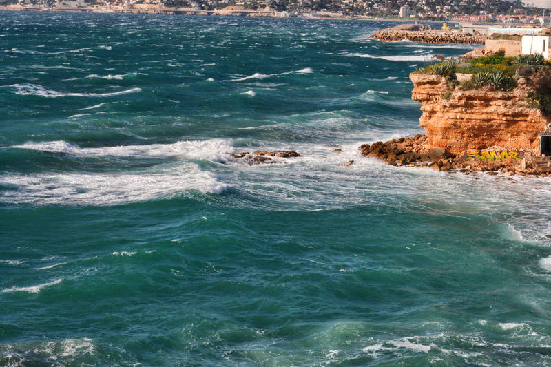 Beauty In Nature Blue Sea Blue Sea And Clear Water Blue Sea... Day Mediterranean  Mediterranean Sea Nature No People Outdoors Sea Sunlight Water Wave Waves Waves And Rocks Waves Crashing Waves Crashing On Rocks Waves Rolling In Waves Splashing