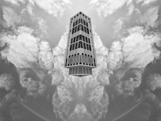 Sky tower EyeEm Best Shots - Black + White Black & White Blackandwhite Black And White Monochrome Abstractart Art Abstract Geometric Abstraction Rearchitseries Urban Geometry Urban Double Exposure Doubleexposure Abstractarchitecture