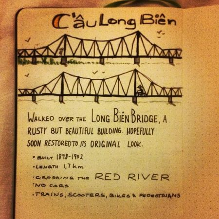 Sketchnoting another day in Hanoi : the Longbienbridge crossing the RedRiver , sketchnotes traveldiary