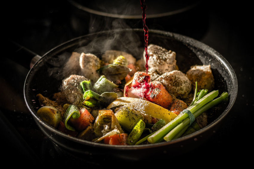 Coq au vin Bowl Close-up Comfort Food Day Food Food And Drink Freshness Healthy Eating Indoors  Meal No People Quality Ready-to-eat Smoke - Physical Structure Vegetable Fresh On Market 2017