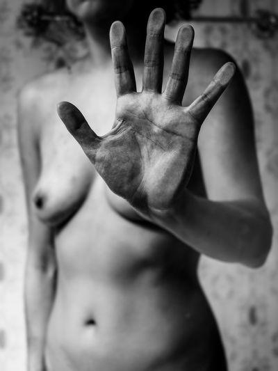 Close-up of shirtless hand