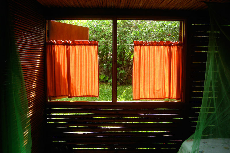 Absence Architecture Beds Built Structure Curtain Curtains Entrance Indoors  Mosquito Net Orange Red Sunlight Wood - Material