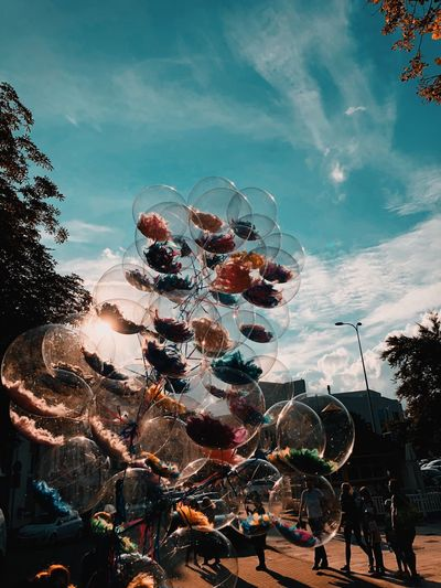 Low angle view of flowers in glass spheres against blue sky
