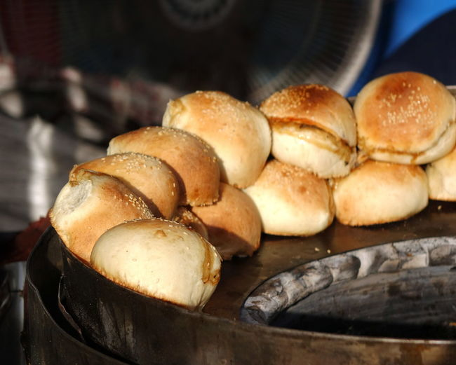 Oven baked fresh buns with stuffing for sale at market in Taiwan Fresh Buns Oven OvenBaked Baked Baking Bread Bread Bun Crisp Food Fresh And Crisp Golden Brown Color Snack Street Food Stuffing - Food