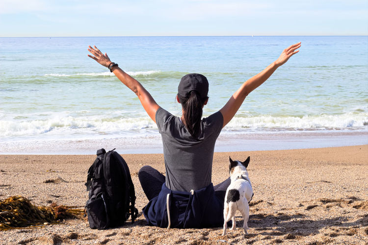 Confidence  Adult Beach Dog Horizon Over Water Nature Pets Sand Water Wave Women