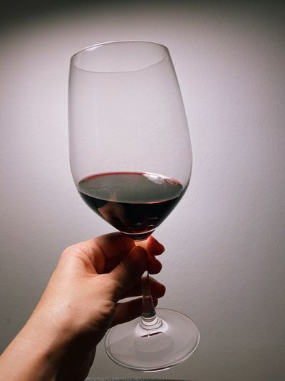 Close-up of hand holding wineglass
