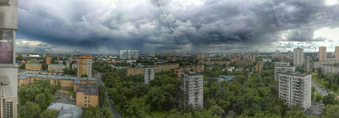 Свинцовое небо над столицей. Панорама  Panorama Москва тучи облака Moscow Clouds Landscape Cityscapes HDR
