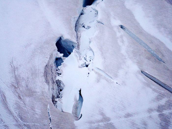 Top view on glacier