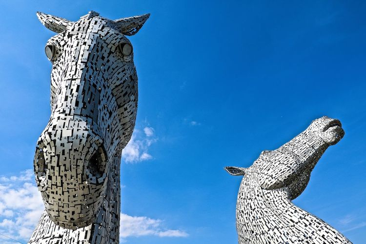 Blue Falkirk Falkirk Kelpies Horse Sculpture Scotland Scotland 💕 Scotlandsbeauty Sculpture Sculptures Sky Statue The Kelpies