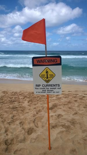 Warning sign on one of the North Shore Beaches, O'ahu, Hawaii. USA Communication Beach Sign Land Warning Sign Sea Text Water Sky Western Script Cloud - Sky Sand Nature Horizon Over Water Information Horizon No People Information Sign Safety Guidance Message North Shore North Shore Oahu Big Wave Surfing