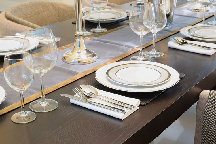 Place setting on table in restaurant