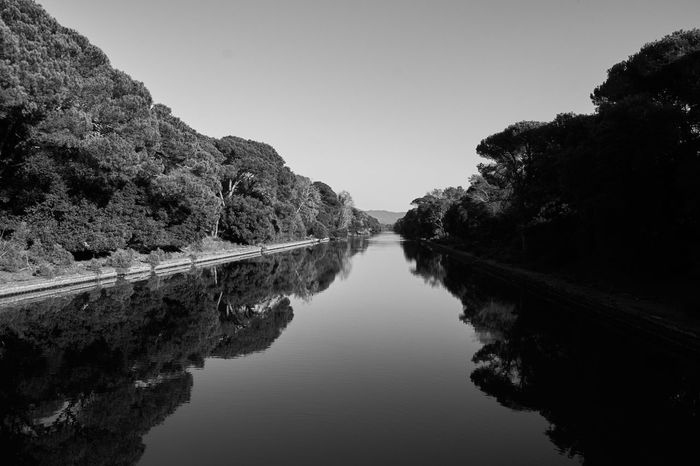 Reflection Water Nature Outdoors Landscape Sky Day No PeopleBeauty In Nature Black & White Black And White Blackandwhite Water Reflections Peace River Scenics