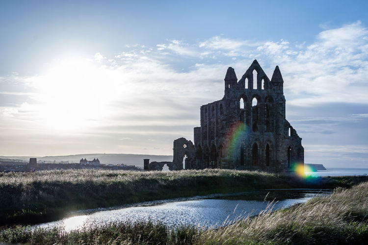 Whitby Abbey Architecture Building Exterior Built Structure Cloud - Sky Day Grass History Nature No People Outdoors Over Exposed Sky Sunlight Water