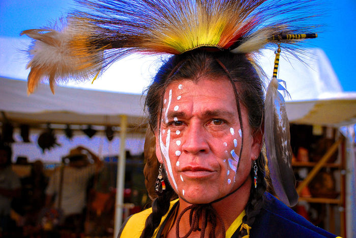 The Apache Apache Blue Brave Braveheart Confident  Expression Eyes Face Face Paint Feathers Front View Hair Headshot Looking At Camera Looks Mohican Mouth Native Indian Paint Person Portrait Red Indian Tomahawk Warior Yellow
