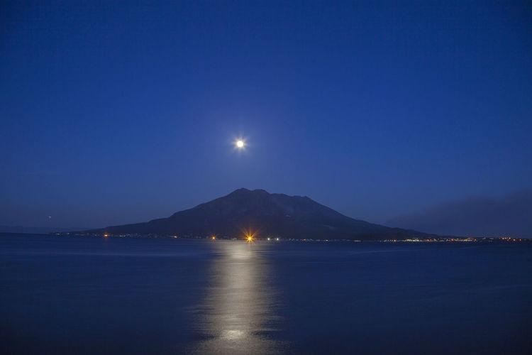 landscape kagoshima japan sakurajima Astronomy Beauty In Nature Clear Sky Full Moon Idyllic Moon Moonlight Mountain Nature Night No People Outdoors Reflection Scenics - Nature Sea Sky Tranquil Scene Tranquility Water Waterfront