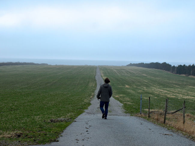 Adult Adults Only Beauty In Nature Day Desicions Fog Full Length Future Man Misterious Misty Nature Norway Ocean View One Man Only One Mature Man Only One Person Outdoors People Rear View Sky Straight Road Way Ahead