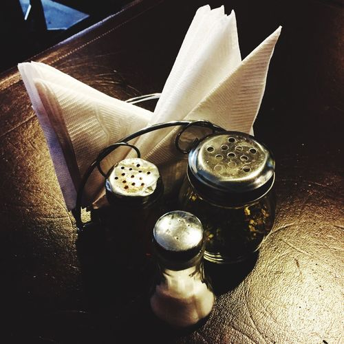 High angle view of coffee on table in restaurant