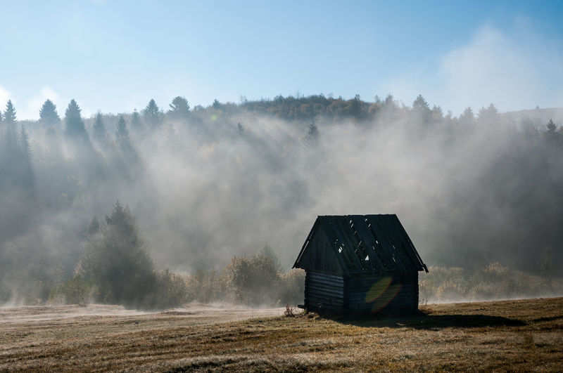Log cabin on field against mountain in forest during foggy weather