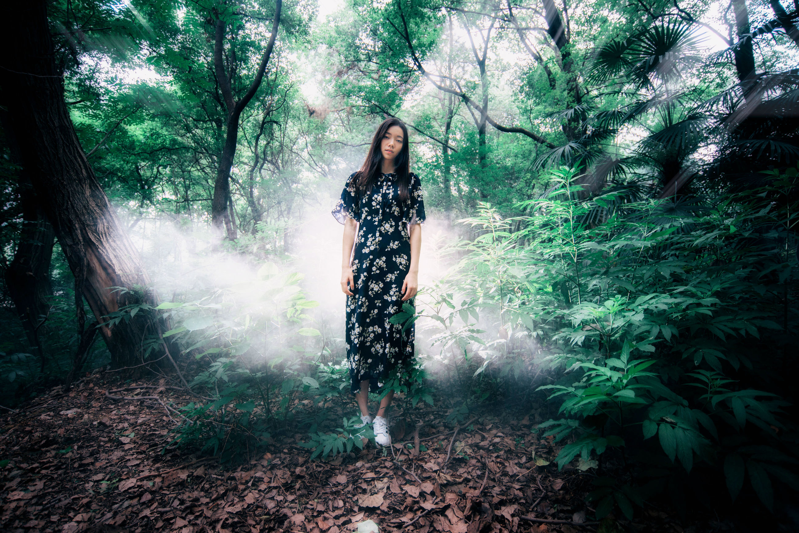 tree, forest, lifestyles, leisure activity, full length, standing, tranquility, nature, growth, woodland, tree trunk, casual clothing, tranquil scene, plant, outdoors, day, beauty in nature, non-urban scene