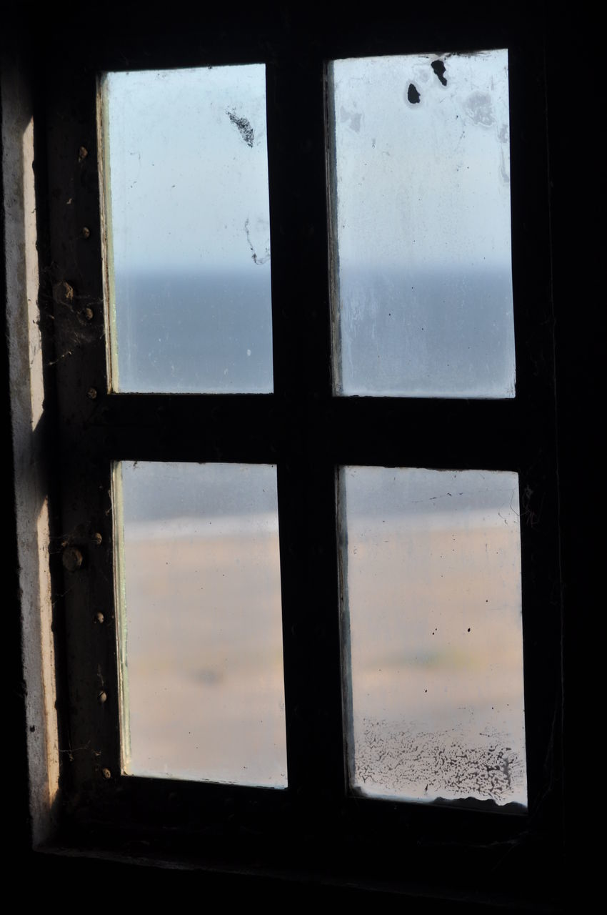 window, glass - material, transparent, no people, indoors, close-up, geometric shape, sky, shape, old, square shape, day, nature, backgrounds, full frame, rectangle, run-down, window frame, glass