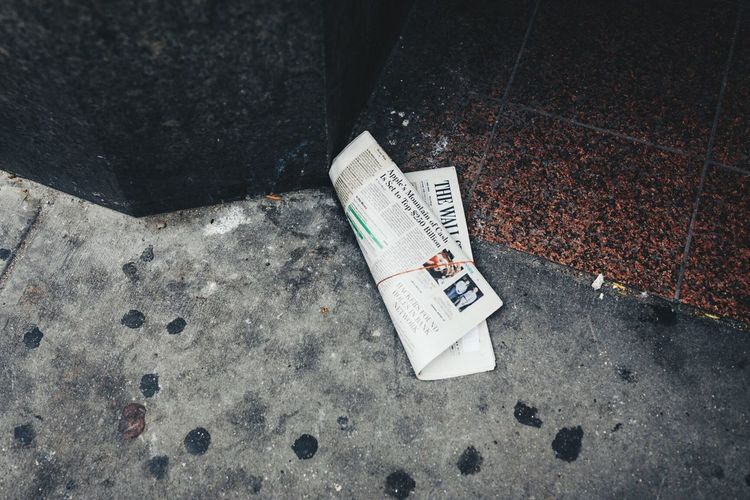 High Angle View Day Text Outdoors Communication No People Close-up Newspaper Wsj WallStreetJournal