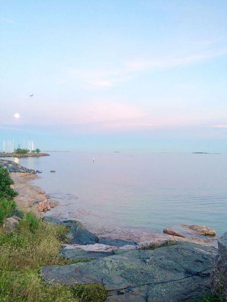 Helsinki, finland. Moon Sea Seaside Night When Sun Does Not Set Pastel Nature Bright Night