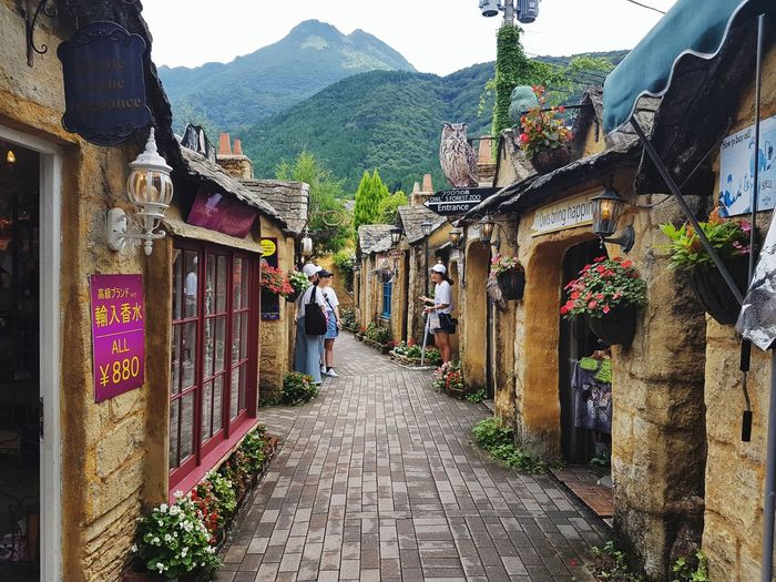 Architecture The Way Forward Outdoors Built Structure Day Building Exterior Mountain No People Nature Flower Sky Freedoom  Rear View Lovely Village Old Town Japan YiFan Yufuin Photographer S7