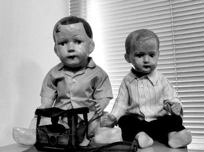 in the doll clinic Child Childhood Indoors  Sitting Boys Front View Portrait Togetherness Family Toy Lifestyles Innocence Dolls Black And White Puppets Clinic No People Repair