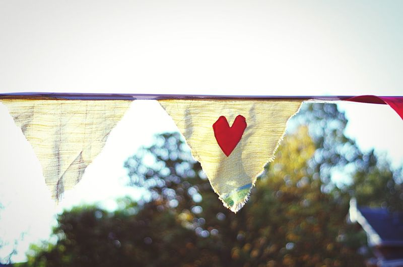 A pennant with a heart Copy Space Festivity Arts And Crafts Red Heart Triangle Heart Party Garland Cloth Pennant Heart Shape Day No People Outdoors Tree Clear Sky Sky