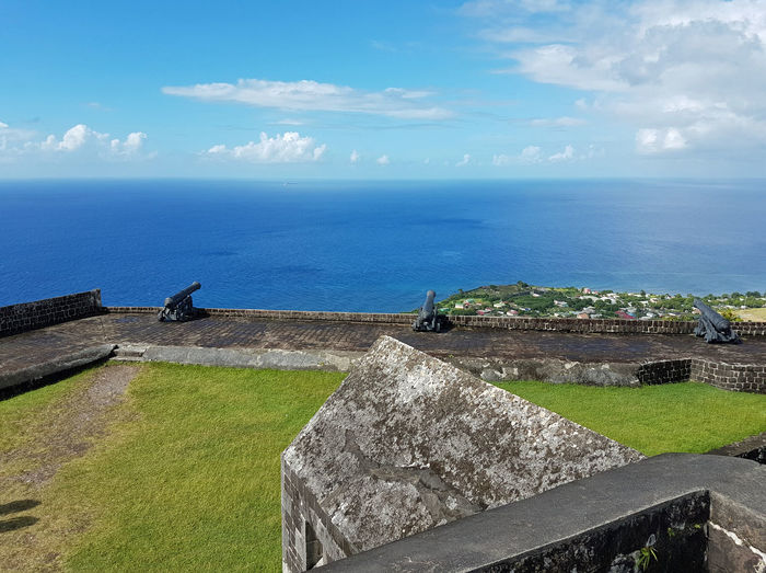 Basseterre EyeEmNewHere St. Kitts Architecture Beauty In Nature Brimstone Hill Building Exterior Built Structure Canon Cloud - Sky Day History Horizon Over Water Nature No People Outdoors Retaining Wall Scenics Sea Sky Tranquil Scene Tranquility Travel Destinations Water